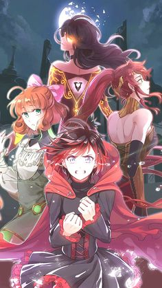 Cinder, Penny, Pyrrha and Ruby