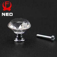 Kak 20-40mm diseño en forma de diamante de cristal de cristal perillas de puerta del armario armario tirón del cajón de la cocina armario tiradores hardware