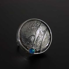 Large+Modernist+with+Texture+and+Opal by Jan+Van+Diver: Silver+