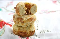 """""""All For One"""" Low Carb Krispy Kreme Donuts - Using coconut flour - tweak it for your low carb needs - For donut maker or muffin pan! Serving size  is 4 donuts at 9 - 10 carbs (carb count based on using 1/4 c. banana, I presume?"""
