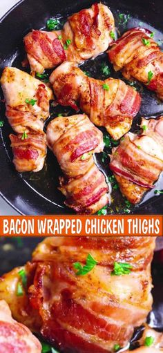 Bacon Wrapped Chicken Thighs Recipe – quick, simple and delicious one pan weeknight meal. Low-carb and Keto, all you need to make these is – chicken thighs, bacon, seasoning and olive oil. Serve with a side dish of your choice. Chicken Thigh Fillet Recipes, Chicken Lunch Recipes, Chicken Wraps, Bacon Recipes, Cooking Recipes, Healthy Recipes, Oven Chicken, Healthy Chicken, Savoury Recipes