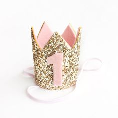 Miniature 1st birthday crown headband blush and gold by Kichiqueen