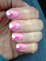 Gel nail design for breast cancer awareness month.
