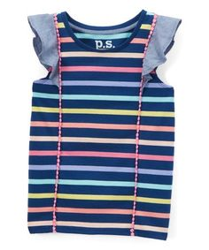 Love this Navy & Pink Stripe Angel-Sleeve Top - Girls on #zulily! #zulilyfinds