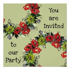 "Wreath ""Triple Flower"" Flowers Floral Invitations - wedding invitations diy cyo special idea personalize card"