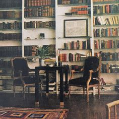 Mica and Ahmet Ertegun's library in New York.  Photo by Horst P. Horst.  Vogue, 1969.