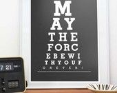 Star Wars print  typography art poster  Nursery decor Kids art  -  May the force be with You  A3 or A4 11x 14 or 8 x 10 - choose  a color. $15.00, via Etsy.