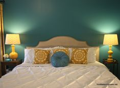 Turquoise and yellow bedroom turquoise yellow designed gray yellow turquoise bedroom . turquoise and yellow bedroom Bedroom Turquoise, Gray Bedroom, Bedroom Colors, Bedroom Decor, Bedroom Ideas, Bedroom Themes, Teal Bedspread, Teal Headboard, Style At Home
