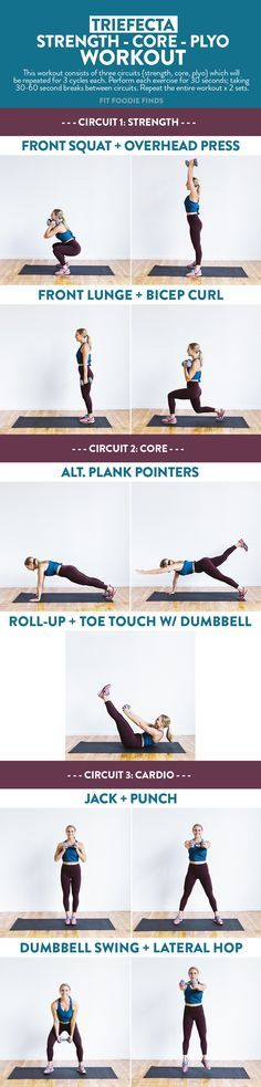 Do this Trifecta workout for a total body burn. It incorporates strength, core, and plyometrics and can be done with just a set up dumbbells!