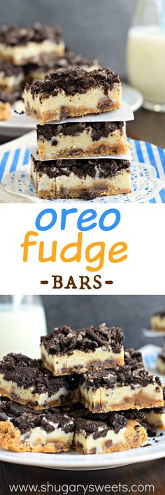 Oreo Fudge Bars: chocolate chip cookie crust with white chocolate fudge and crushed Oreos! A decadent, yet SUPER easy treat!