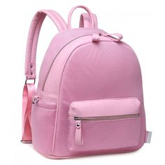 BURN IT UP PINK MESH BACKPACK (€16) ❤ liked on Polyvore featuring bags, backpacks, ipad backpack, fake bags, padded backpack, zip bag and faux-leather bags