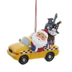 12 Santa Claus with NYC Statue of Liberty in Taxi Christmas Ornaments 275 -- Check out this great product.