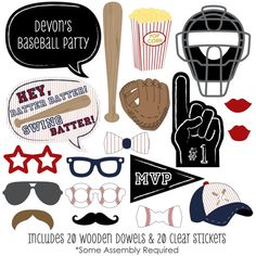 Baseball Photo Booth Props - Baseball Photobooth Kit with Custom Talk Bubbles for 20 Batter Up - Baby Shower or Birthday Party - 20 Pcs Baseball Party Games, Baseball Birthday Party, Birthday Party Games, Baby Birthday, Baseball Cupcakes, Grandpa Birthday, Surprise Birthday, Baby Shower Photo Booth, Baby Shower Photos