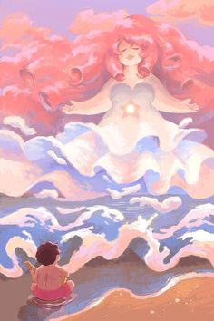I finally made a Steven Universe print! I just want to draw big clouds and big hair and big ladies all the time always… This is available for purchase on my inprnt!