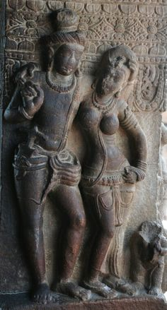 """Maithun."" (Loving Couple). Virupaksha Temple, Pattadakal, Dist. Bagalkot, Karnataka, India.  Chalukya Dynasty. 8th Century CE."