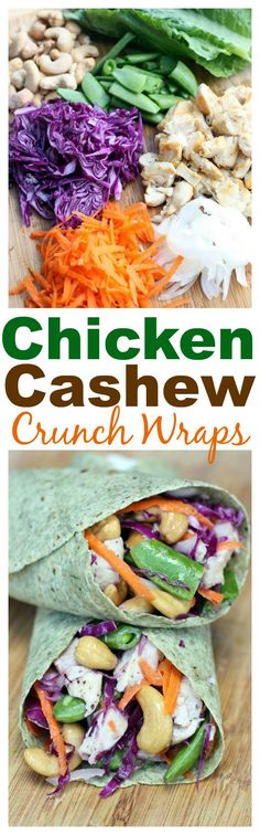 My favorite wrap includes chicken, cashews and snap peas in a delicious vinaigrette!