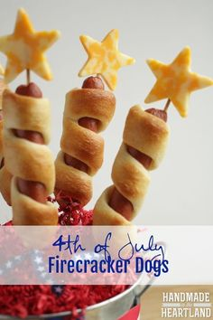 of July Firecracker Dogs of July Firecracker Hot Dogs on a stick. This recipe is perfect for your fourth of july party or barbeque, everyone will love it! Its a crowd-pleasing idea. Fourth Of July Food, 4th Of July Party, July 4th, Fourth Of July Recipes, Patriotic Party, 4th Of July Ideas, 4th Of July Desserts, French Desserts, Holiday Treats