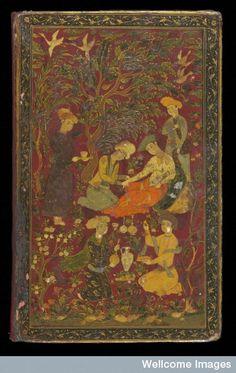 Doctor taking woman's pulse. Avicenna's Canon manuscript