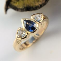Blue and white sapphire gold ring Gold And Silver Rings, Silver Jewelry, Bespoke Jewellery, White Sapphire, Bronze Sculpture, Metal Working, Heart Ring, Blue And White, Silver Decorations