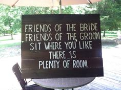 Wedding Sign - example language to point guests in the right direction once they arrive