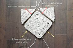 "How to sew a crochet bag or purse together. Urban Gypsy boho bag free pattern made with Lion Brand Kitchen Cotton in ""Vanilla."""