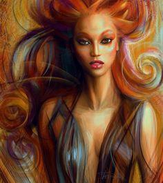 Beautiful digital painting of @tyrabanks  by Russia based artist Olga Tereshenko @OlgaTerso.