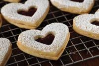 Shortbread Cookies Hearts with White Chocolate and Raspberries