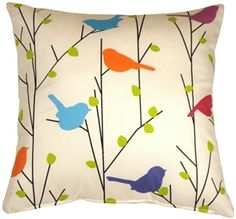 Spring Birds 17x17 Decorative Pillow