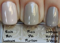 essie playa del platinum comparison with lippmann waking up in vegas and essie body language