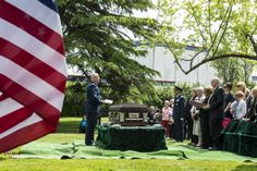 627th Air Base Group Chaplain (Maj.) John Shipman presides over the committal service of Air Force Capt. Douglas D. Ferguson May 2, 2014, at Mountain View Funeral Home in Lakewood, Wash. Ferguson, a native of Tacoma, Wash., had been missing since his airplane was shot down over Laos Dec. 30, 1969. (U.S. Air Force photo/Tech. Sgt. Sean Tobin)