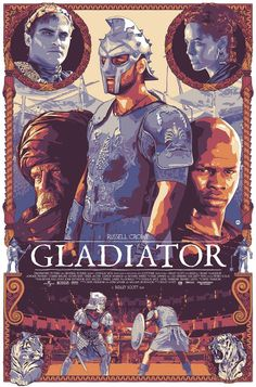 "Dani Blazquez's First Screenprint, ""Gladiator"" Is Absolutely Brilliant Best Movie Posters, Classic Movie Posters, Cinema Posters, Movie Poster Art, Poster S, Classic Films, Vintage Cartoon, Vintage Movies, Vintage Horror"