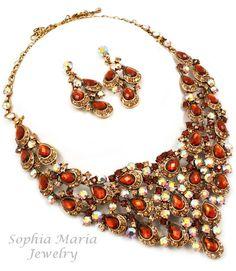 Stunning brown crystals teardrop evening metal necklace set mother of the bride  ##sophiamariajewelry on Bonanza