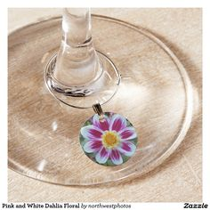 Pink and White Dahlia Floral Wine Charm