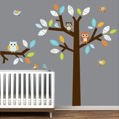 Wall Decals Vinyl Wall Decal Tree with Owls by Modernwalls on Etsy, $139.00