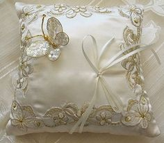 Butterfly wedding ring bearer pillow in cream and gold must have!