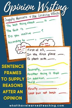 Teach students to supply reasons when writing opinion statements by asking why and using sentence frames to develop academic language. Provide plenty of practice talking about reasons and developing ideas with students. This is a great resource for your opinion writing unit.