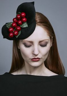 Rachel Trevor Morgan Millinery AW 2016 | R16W12 - Black felt mini pillbox with felt petals and berries