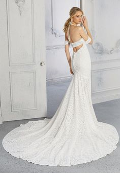 The soft mermaid wedding dress, in leaf-patterned stretch lace, features a sweetheart bodice with halter straps and detachable, off-the-shoulder sleeves. Stunning Wedding Dresses, Bridal Wedding Dresses, Stretch Lace, Dream Dress, Dress Collection, Destination Wedding, Bride, Formal Dresses, Madeline Gardner