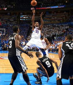 Kevin Durant squeezes a shot during the 2012 NBA Western...