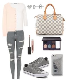 """""""Untitled #833"""" by mariafilomena471 ❤ liked on Polyvore featuring Converse, Topshop, Les Copains, 81hours, Louis Vuitton, Agent 18, Burberry, Laura Mercier and Belk & Co."""