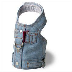 recycled denim jean dog harness