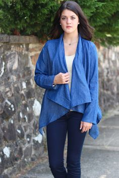 Waterfall Sweater Back Chambray Cardi {Denim} - The Fair Lady Boutique - 1