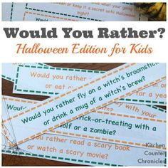 Silly and Spooky Would You Rather Halloween Questions for Kids Print off this free printable game, Would You Rather Halloween edition. Add the questions to your kid's lunch box or play around the dinner table. Free Halloween Games, Halloween Party Activities, Halloween Poems, Classroom Halloween Party, Halloween Scavenger Hunt, Halloween Facts, Halloween Crafts For Kids, Family Halloween, Holidays Halloween