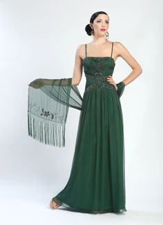 Embroidered & Beaded Ball Gown in Forest by Sue Wong  You will exude classic Hollywood elegance wearing this floor-length Embroidered & Beaded Ball Gown in Forest by Sue Wong. Crafted from chiffon, there is a princess-like elegance in the exquisite, beaded design. It is simply beautiful, simply you. #wardrobeshop #style #gown