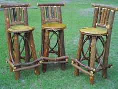 Rustic Bent Wood Willow Bar Stool - Log Cabin Decor