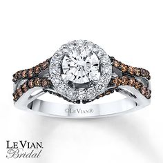 LeVian Chocolate Diamonds 1 1/4 ct tw 14K Gold Engagement Ring
