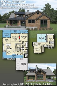 """Take a peek at ADHousePlans 3-Bedroom Rustic Inspired Modern Craftsman Style House Plan #280102JWD with open concept floor plan 2,470  Square Feet  3 Beds  2.5 Baths  2-Car Courtyard Garage 47'-6"""" Wide x 70' Deep #rustichome #adhouseplans #farmhouse #dreamhouse #farmhouseliving #houseplans #southernliving #floorplans #housedesign #housedesigns #farmhouse #houseplans #rusticdesign #modernhouse #modernhome #craftsmanstyle #interiordesign #homedesign Modern Craftsman, Craftsman Style House Plans, Modern Farmhouse Exterior, Modern House Plans, Farmhouse Plans, Architectural Design House Plans, Architecture Design, Open Concept Floor Plans, Beautiful Home Designs"""