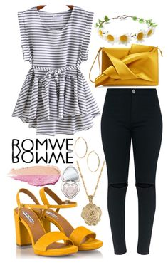 """""""Black and White Romwe Top - Contest Entry (2)"""" by bhappygirlz ❤ liked on Polyvore featuring Fratelli Karida, N°21, 2028, GUESS by Marciano, Too Faced Cosmetics and By Terry"""