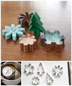 How to make candles from cookie cutters for Christmas candles diy christmas diy crafts do it yourself christmas crafts cookie cutter Homemade Candles, Homemade Gifts, Diy Gifts, Scented Candles, Jar Candles, Small Candles, Christmas Candles, Christmas Crafts, Homemade Christmas