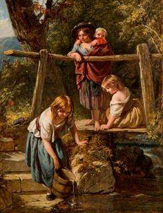 Henry Lejeune (1819 – 1904) – Pintor Inglês_20 4 children getting water/lighting is gorgeous